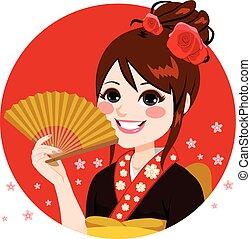 donna, ventilatore, giapponese, presa a terra