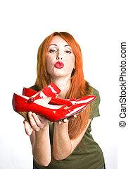 donna, verniciato, scarpe, rosso