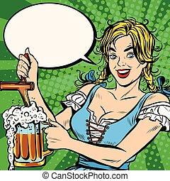 donna, versa, nazionale, birra, giovane, costume, biondo