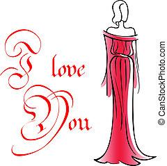 donna, vestire, lungo, rosso