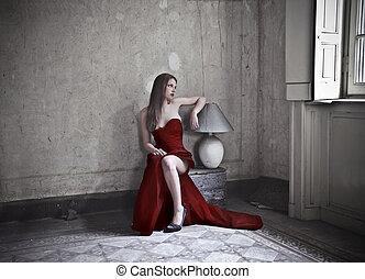 donna, vestire, rosso