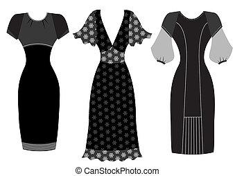 donna, vestiti, isolato, vettore, dresses., bianco