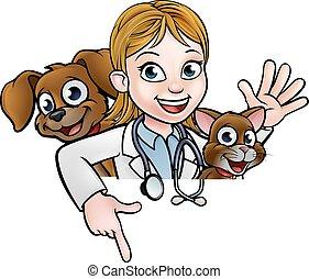 donna, veterinario, cartone animato, carattere, indicare, segno