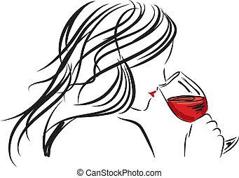 donna, vetro, illinois, odorando, ragazza, vino