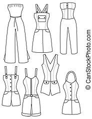 donna, vettore, disegno, bianco, moda, vestiti