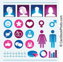 donna, -, vettore, infographics, elementi, uomo