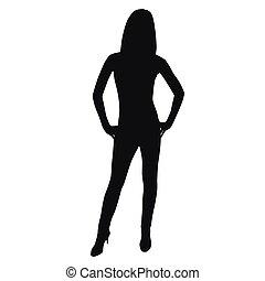 donna, vettore, silhouette, standing