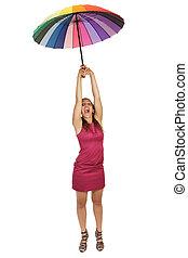 donna, volare, con, ombrello
