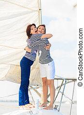 donna, yacht, emozioni