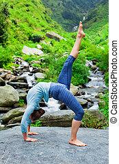 donna, yoga, asana, cascata