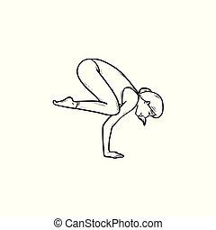 donna, yoga, contorno, corvo, atteggiarsi, mano, scarabocchiare, disegnato, icon.