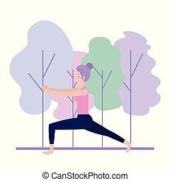 donna, yoga, esercizio, idoneità