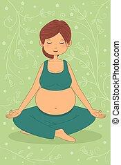 donna, yoga, esercizio, incinta
