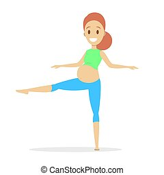 donna, yoga, exercise., incinta, idoneità, gravidanza