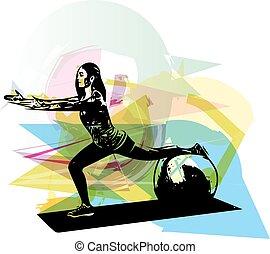 donna, yoga, illustrazione