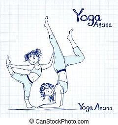 donna, yoga, illustrazione, pose, vettore, ragazza