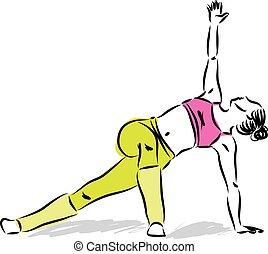 donna, yoga, illustrazione, stiramento