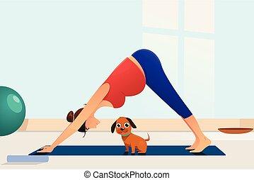 donna, yoga, lei, incinta, cane, illustrazione