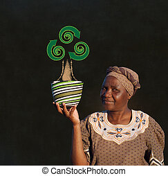 donna, zulu, lavagna, albero, vendite, cesto, africano, riciclare, sud