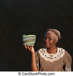 donna, zulu, lavagna, vendite, tradizionale, fondo, africano, cesto, sud