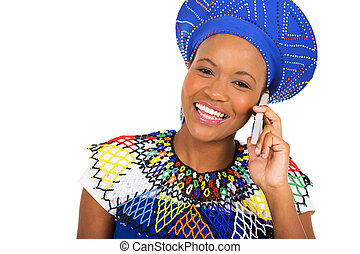 donna, zulu, parlare, telefono, africano, far male