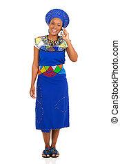 donna, zulu, parlare, telefono mobile, africano
