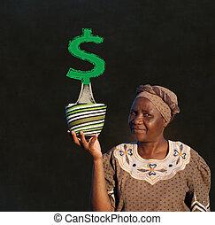 donna, zulu, soldi, albero africano, vendite, lavagna, cesto, sud