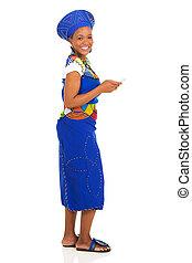 donna, zulu, telefono, africano, usando, far male