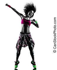 donna, zumba, idoneità, esercizi, ballerino, ballo, isolato, silhouette