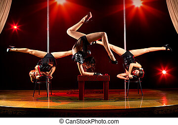 donne, acrobatico, tre, mostra