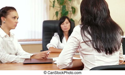 donne affari, a, riunione