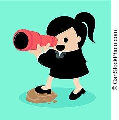 donne affari, cercando, con, binoculare