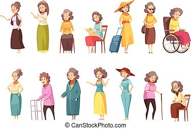 donne, anziano, set, cartone animato, icone