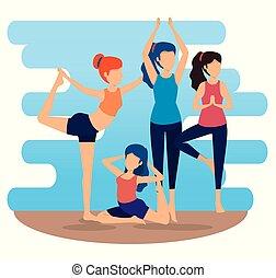 donne, atteggiarsi, yoga, esercizio, idoneità