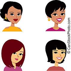 donne, avatar, cartone animato, multi-etnico