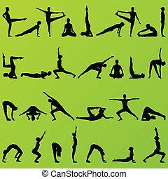 donne, e, ragazza, yoga, e, ginnastica, persone, silhouette,...