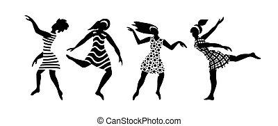 donne felici, giovane, ballo, gruppo