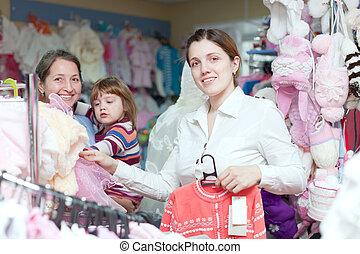 donne, generazioni, negozio, tre, vestiti
