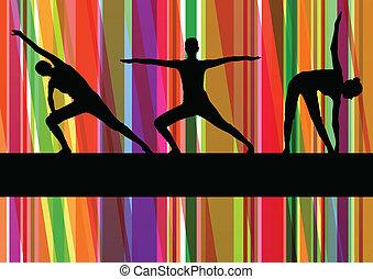 donne, ginnastico, esercizi, idoneità, illustrazione, colorito, linea, fondo, vettore
