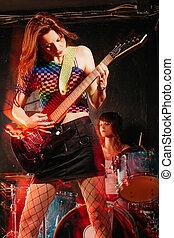 donne, gioco, rock, palcoscenico