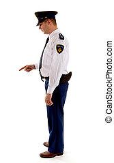 donne, hollandais, gendarme, réprimande