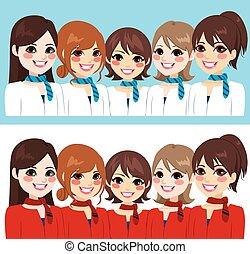 donne, hostess, squadra