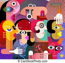 donne, illustrazione, sei, cane, astratto