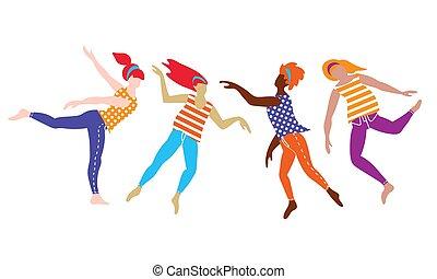 donne, internazionale, gruppo, ballo, giovane
