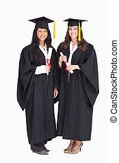 donne, lunghezza, laureandosi, colpo, pieno, due