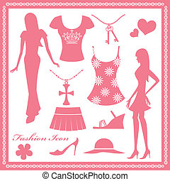 donne, moda, set, icone