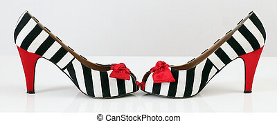 donne, moda, shoes., zebra, pattern., rosso, tallone