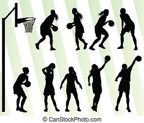 donne, pallacanestro, vettore, fondo, silhouette, set