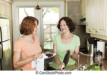 donne, piatti, cucina