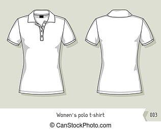 donne, polo, t-shirt., sagoma, per, disegno, facilmente,...